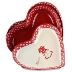 Set de 3 plats coeur ruban