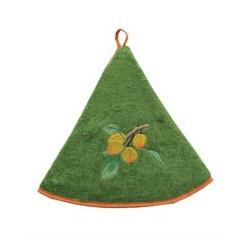 Torchon rond mirabelle, vert olive