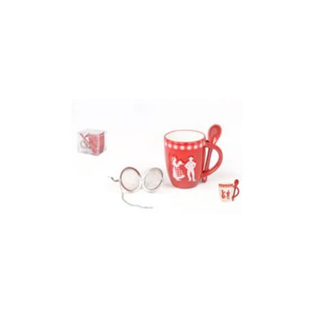 Set mug, cuillère + boule a the ruban Alsace