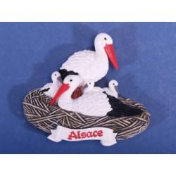 Magnet résine Alsace cigogne
