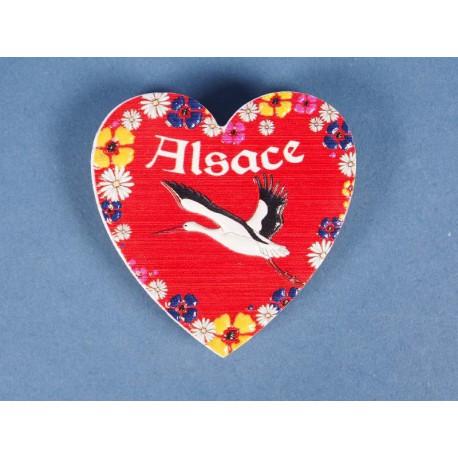 Magnet cœur cigogne Alsace