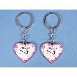 Porte clés cœur cigogne Alsace