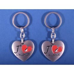 Porte clés cœur: J'aime l'Alsace